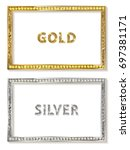 cinema silver and gold shape... | Shutterstock .eps vector #697381171