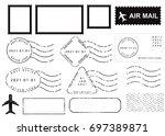 blank postal stamps set... | Shutterstock .eps vector #697389871