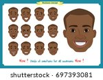 set of male facial emotions.... | Shutterstock .eps vector #697393081