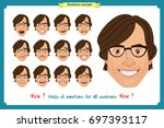 set of male facial emotions.... | Shutterstock .eps vector #697393117