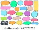 speech bubble doodles set.... | Shutterstock .eps vector #697393717