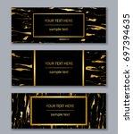 set of white  black and gold... | Shutterstock .eps vector #697394635