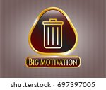 gold badge with trash can icon ...   Shutterstock .eps vector #697397005
