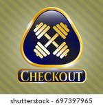 gold badge or emblem with...   Shutterstock .eps vector #697397965