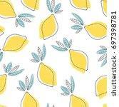 abstract cute lemons pattern.... | Shutterstock .eps vector #697398781