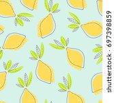 modern abstract lemons pattern. ... | Shutterstock .eps vector #697398859