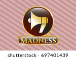 gold badge with megaphone icon ...   Shutterstock .eps vector #697401439