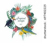 exotic banner  template  poster ... | Shutterstock .eps vector #697402225
