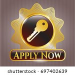 gold badge with key icon and...   Shutterstock .eps vector #697402639
