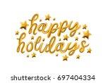 happy holidays. gold glossy...