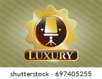 shiny badge with office chair...   Shutterstock .eps vector #697405255