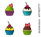 vector cupcakes or muffins icon.... | Shutterstock .eps vector #697405777