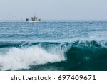 fishermen boat on the sea to... | Shutterstock . vector #697409671