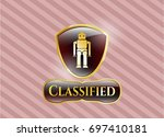 gold badge or emblem with...   Shutterstock .eps vector #697410181