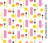 scandinavian folk floral art... | Shutterstock .eps vector #697412134