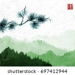 pine tree branch and green... | Shutterstock .eps vector #697412944