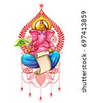 illustration of lord ganpati... | Shutterstock .eps vector #697413859