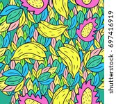 seamless pattern with cartoon... | Shutterstock .eps vector #697416919