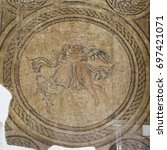 Small photo of CORDOBA, SPAIN, March 15, 2017: The ancient roman mosaic in Alcazar de los Reyes Cristianos castle in Cordoba, Andalusia