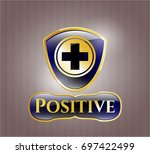 gold badge or emblem with...   Shutterstock .eps vector #697422499