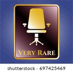 shiny badge with office chair...   Shutterstock .eps vector #697425469