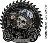 vintage motorcycle label | Shutterstock .eps vector #697425949