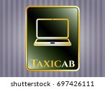 gold badge or emblem with...   Shutterstock .eps vector #697426111