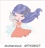 cute girl vector.children... | Shutterstock .eps vector #697428427