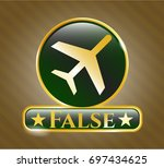 gold badge with plane icon and ...   Shutterstock .eps vector #697434625
