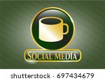 gold badge with coffee cup...   Shutterstock .eps vector #697434679