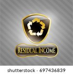 gold badge with recycle icon...   Shutterstock .eps vector #697436839
