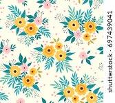 cute floral pattern beautiful... | Shutterstock .eps vector #697439041