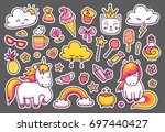 cute unicorns with magic... | Shutterstock .eps vector #697440427