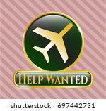 shiny badge with plane icon...   Shutterstock .eps vector #697442731
