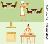 woman cooking pizza in the... | Shutterstock .eps vector #697443349