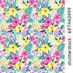 elegant floral pattern in small ... | Shutterstock .eps vector #697443499