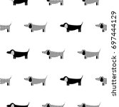 Stock vector german badger dog silhouette seamless vector monochrome pattern black and white patterned puppy 697444129