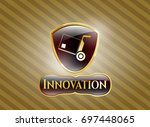 shiny badge with cargo icon...   Shutterstock .eps vector #697448065