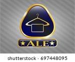 golden badge with hanger with...   Shutterstock .eps vector #697448095
