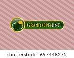 golden badge with sun behind...   Shutterstock .eps vector #697448275
