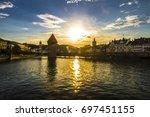 lucerne in sunset light  top of ... | Shutterstock . vector #697451155