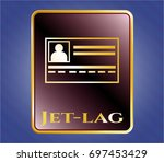 golden badge with...   Shutterstock .eps vector #697453429