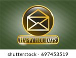 gold badge or emblem with...   Shutterstock .eps vector #697453519
