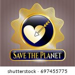 shiny badge with love icon and ...   Shutterstock .eps vector #697455775