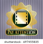 shiny badge with film icon and ...   Shutterstock .eps vector #697455835