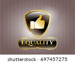 golden badge with like icon...   Shutterstock .eps vector #697457275