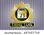 gold badge or emblem with...   Shutterstock .eps vector #697457719