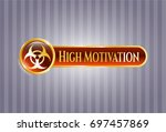 gold badge or emblem with...   Shutterstock .eps vector #697457869