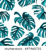 tropical leaves and coral...   Shutterstock .eps vector #697460731