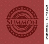 summon badge with red background   Shutterstock .eps vector #697461025